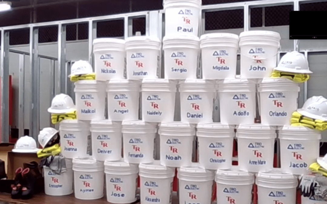 Buckets with student names